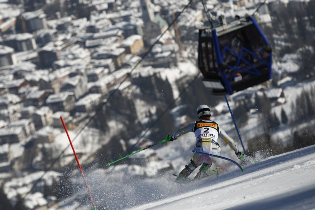 Norway's Sebastian Foss Solevaag competes on his way to win the men's slalom, at the alpine ski World Championships, in Cortina d'Ampezzo, Italy, Sund...
