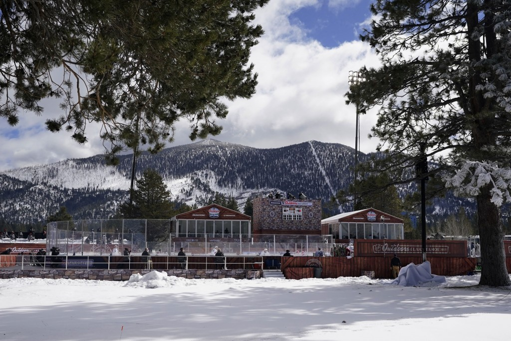 Clouds float in the sky over the temporary ice rink where the Vegas Golden Knights and Colorado Avalanche will play in the Outdoor Lake Tahoe NHL hock...