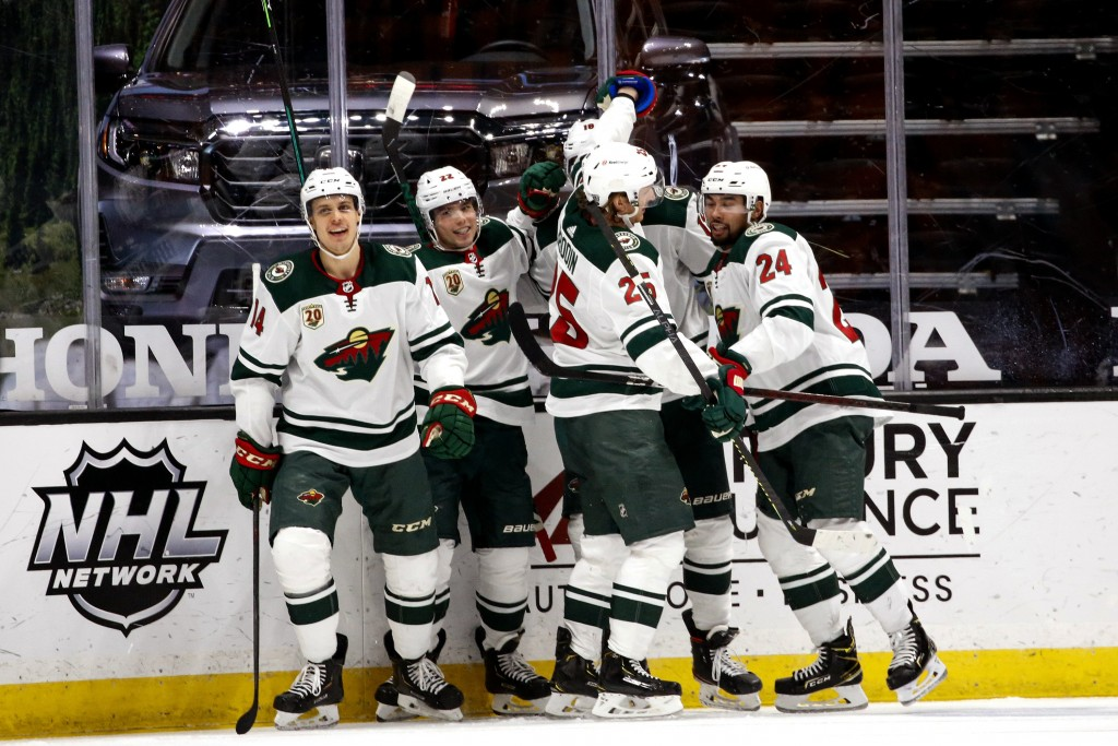 Minnesota Wild celebrates a goal by forward Kevin Fiala (22) during the second period of an NHL hockey game against Anaheim Ducks Saturday, Feb. 20, 2...