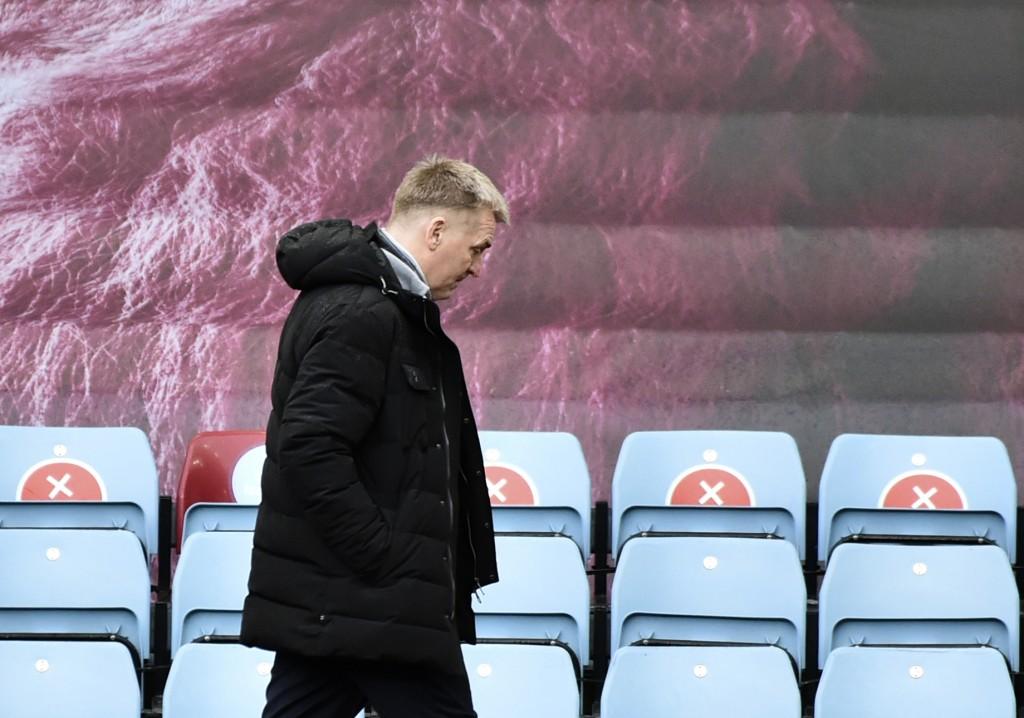 Aston Villa's head coach Dean Smith during the English Premier League soccer match between Aston Villa and Leicester City at Villa Park in Birmingham,...