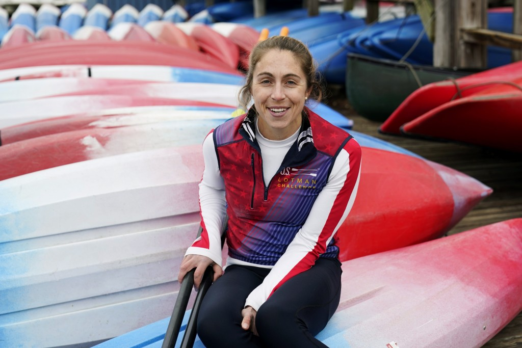 Rower Gevvie Stone poses for a photo at Lady Bird Lake ahead of the upcoming U.S. Olympic rowing trials, Friday, Feb. 12, 2021, in Austin, Texas. Ston...