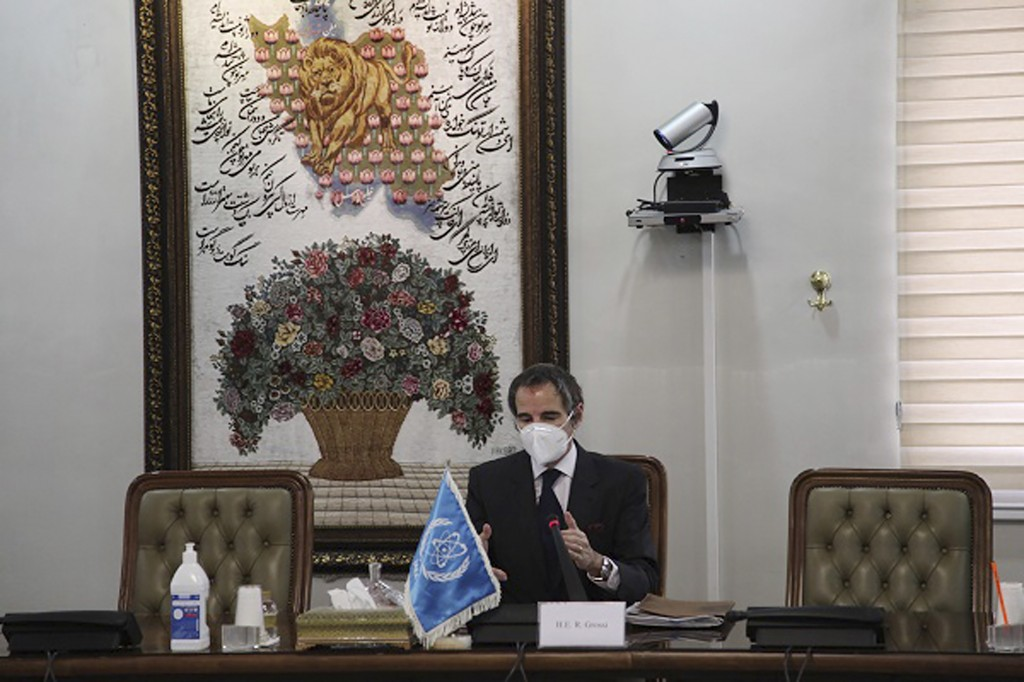 Director General of International Atomic Energy Agency, IAEA, Rafael Mariano Grossi speaks in a meeting with Iran's atomic chief Ali Akbar Salehi in T...