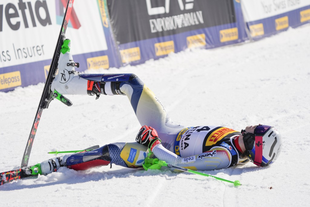 Norway's Henrik Kristoffersen celebrates at the finish area of the men's slalom, at the alpine ski World Championships, in Cortina d'Ampezzo, Italy, S...