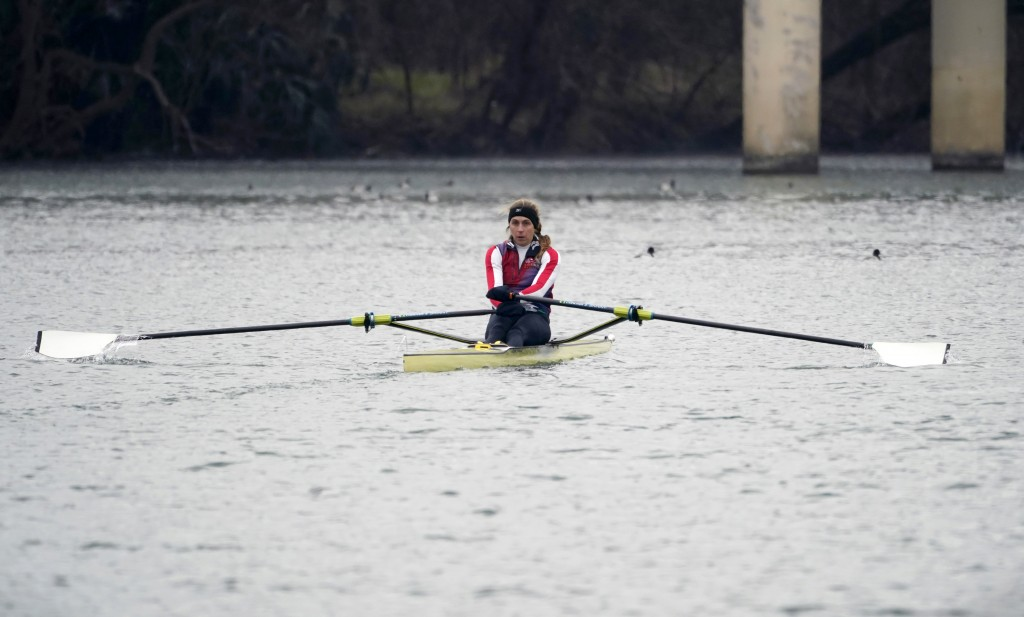 Rower Gevvie Stone trains at Lady Bird Lake ahead of the upcoming U.S. Olympic rowing trials, Friday, Feb. 12, 2021, in Austin, Texas.  The 35-year-ol...