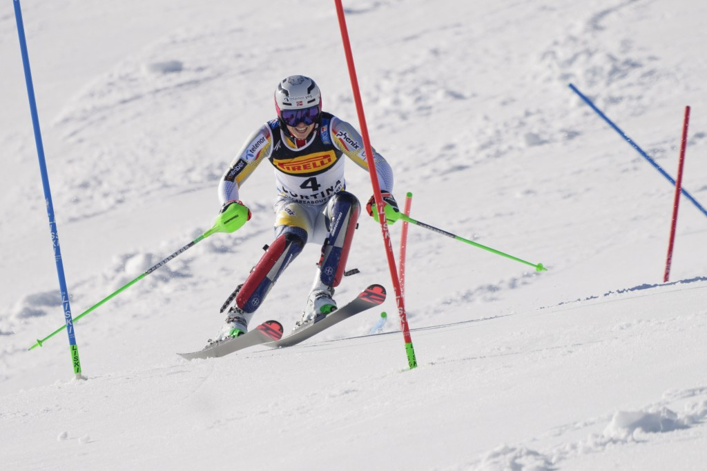 Norway's Henrik Kristoffersen competes in the second run of the the men's slalom, at the alpine ski World Championships, in Cortina d'Ampezzo, Italy, ...