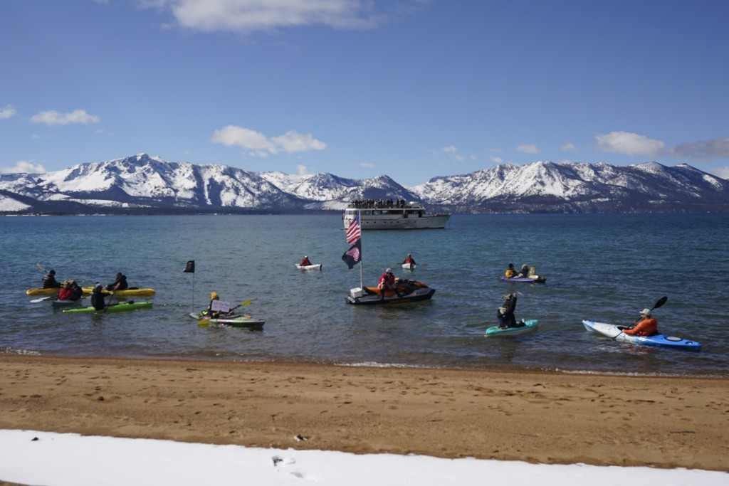 Watercraft of various types float on Lake Tahoe on Lake Tahoe offshore of the temporary ice rink where the Golden Knights will play the Colorado Avala...