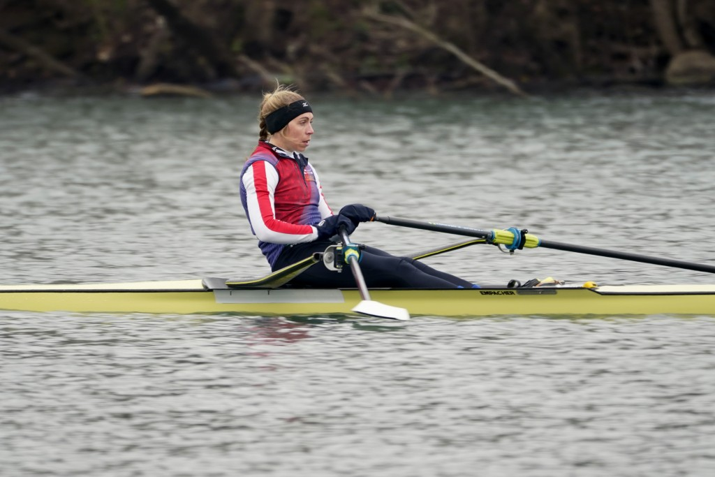 Rower Gevvie Stone trains at Lady Bird Lake ahead of the upcoming U.S. Olympic rowing trials, Friday, Feb. 12, 2021, in Austin, Texas. Stone is gettin...