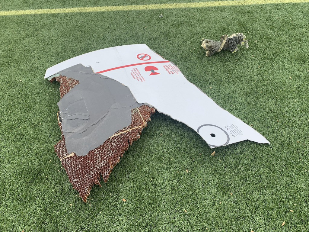 In this photo provided by the Broomfield Police Department on Twitter, debris is scattered across turf field at Commons Park, Saturday, Feb. 20, 2021,...