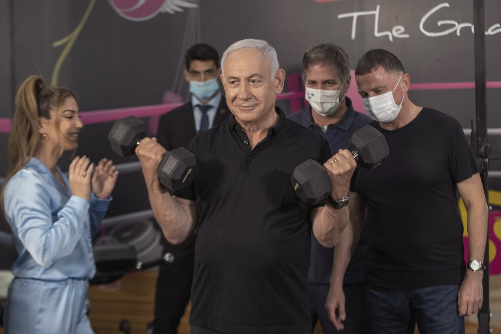 Israeli Prime Minister Benjamin Netanyahu  and Health Minister Yuli Edelstein visits Fitness gym ahead of the re-opening of the branch in Petah Tikva,...