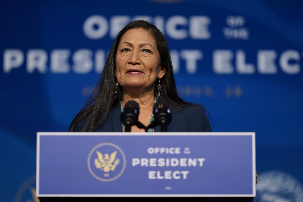 FILE - In this Dec. 20, 2020, file photo the Biden administration's nominee for Secretary of Interior, Rep. Deb Haaland, D-N.M., speaks at The Queen T...