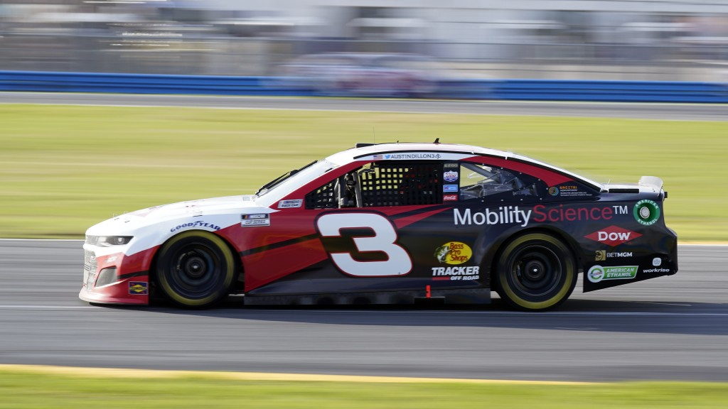 Austin Dillon (3) heads out of a turn during the NASCAR Cup Series road-course auto race at Daytona International Speedway, Sunday, Feb. 21, 2021, in ...