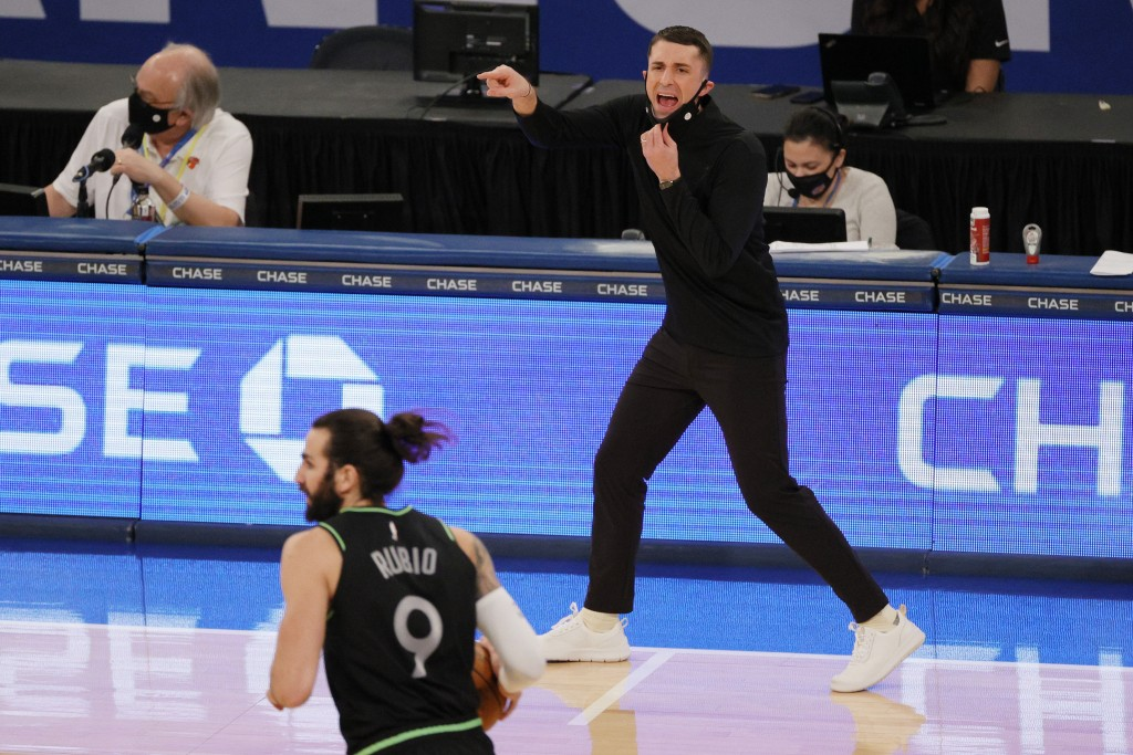 Head coach Ryan Saunders of the Minnesota Timberwolves' directs his team during the second half of an NBA basketball game Sunday, Feb. 21, 2021, in Ne...