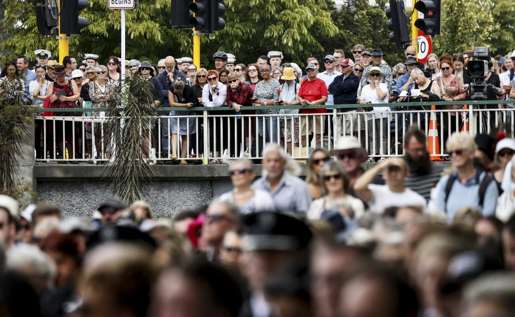 Crowds attend the 10th anniversary memorial service of the 2011 Christchurch earthquake in Christchurch, New Zealand, Monday, Feb. 22, 2021. Today mar...