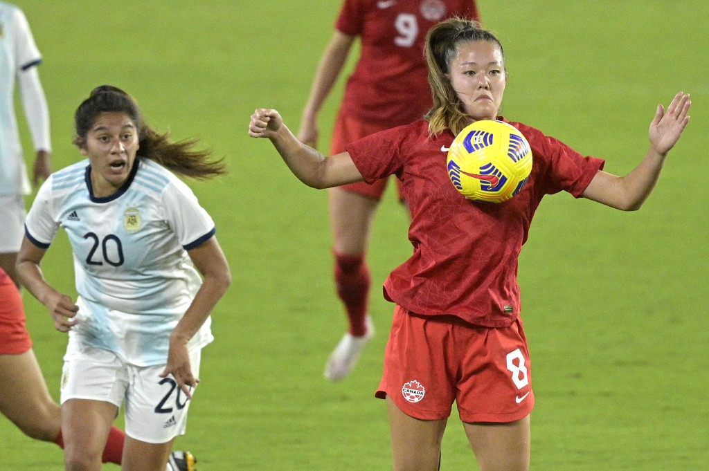 Canada midfielder Samantha Chang (8) controls a ball in front of Argentina midfielder Daiana Falfan (20) during the second half of a SheBelieves Cup w...