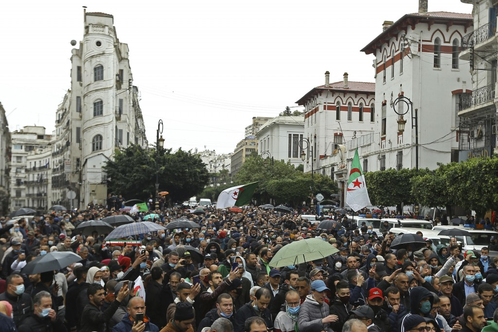 Algerians take the streets as they demonstrate in Algiers to mark the second anniversary of the Hirak movement, Monday Feb. 22, 2021. February 22 mark...