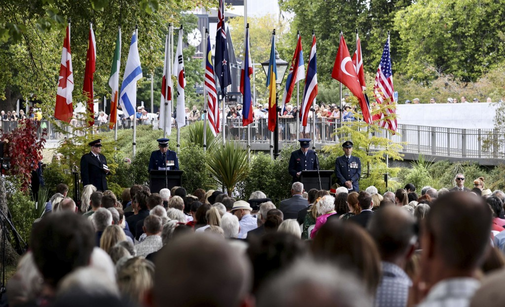 People attend the 10th anniversary memorial service for the 2011 Christchurch earthquake in central Christchurch, New Zealand, Monday, Feb. 22, 2021. ...