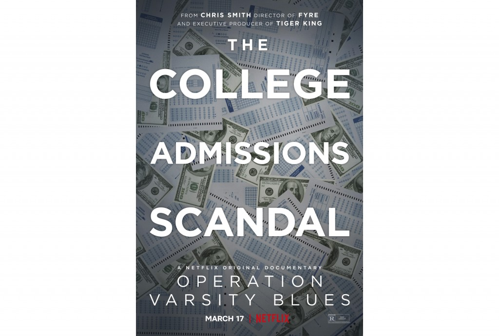 "This image released by Netflix shows key art for ""Operation Varsity Blues,"" a documentary about the college admissions scandal, premiering March 17. (..."