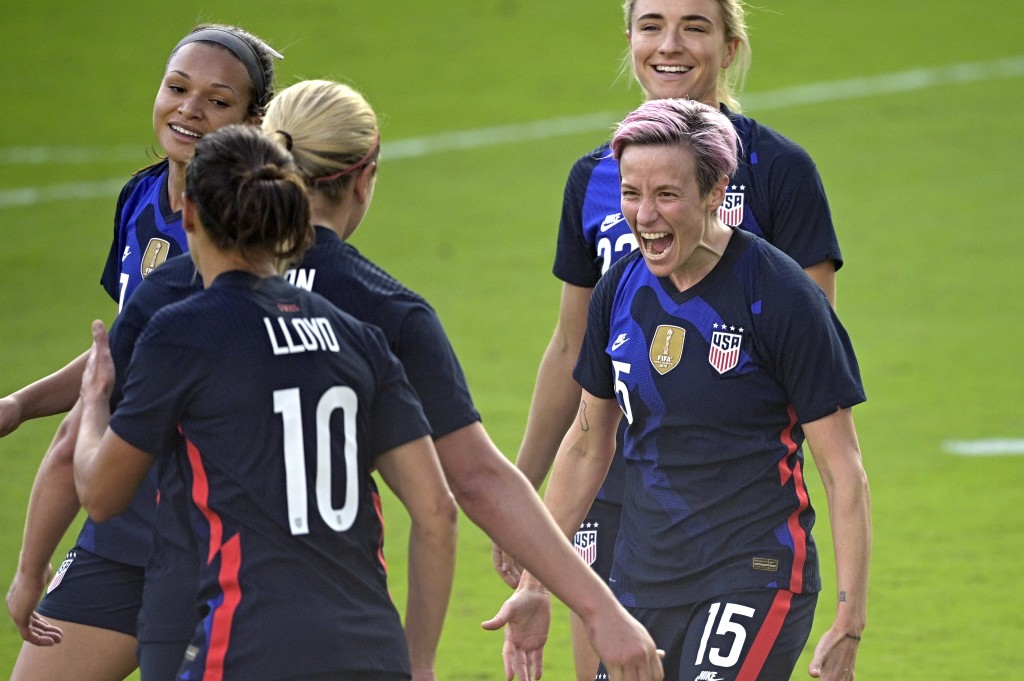 United States forward Megan Rapinoe (15) celebrates after scoring a goal during the second half of a SheBelieves Cup women's soccer match against Braz...