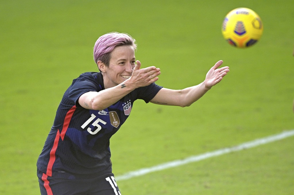 United States forward Megan Rapinoe (15) acknowledges fans in the stands after scoring a goal during the second half of a SheBelieves Cup women's socc...