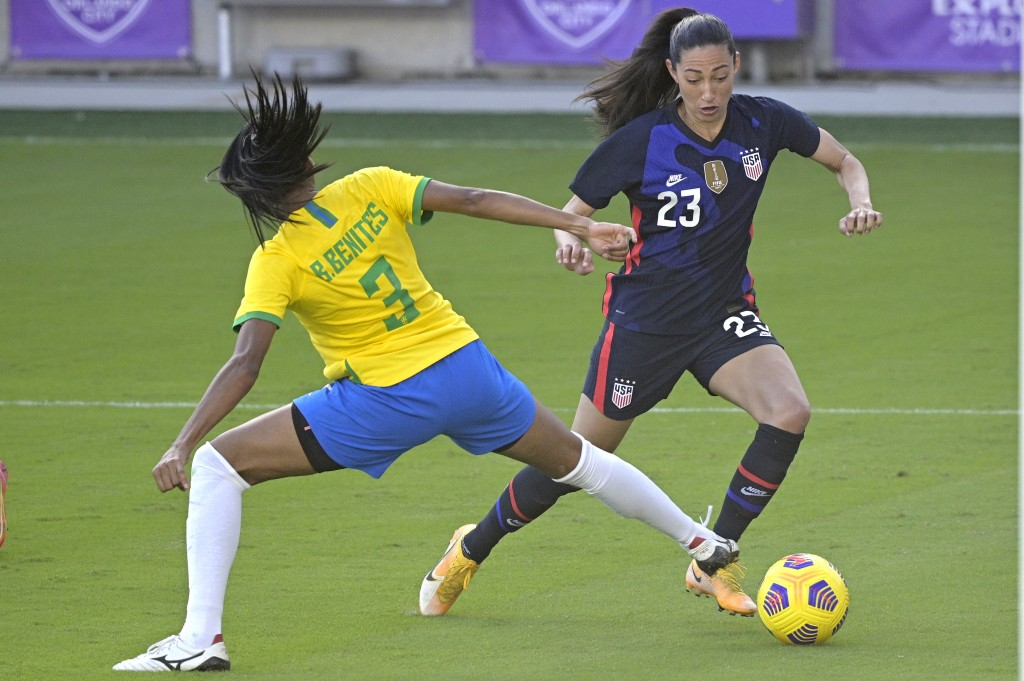 United States forward Christen Press (23) controls a ball in front of Brazil defender Bruna (3) during the second half of a SheBelieves Cup women's so...