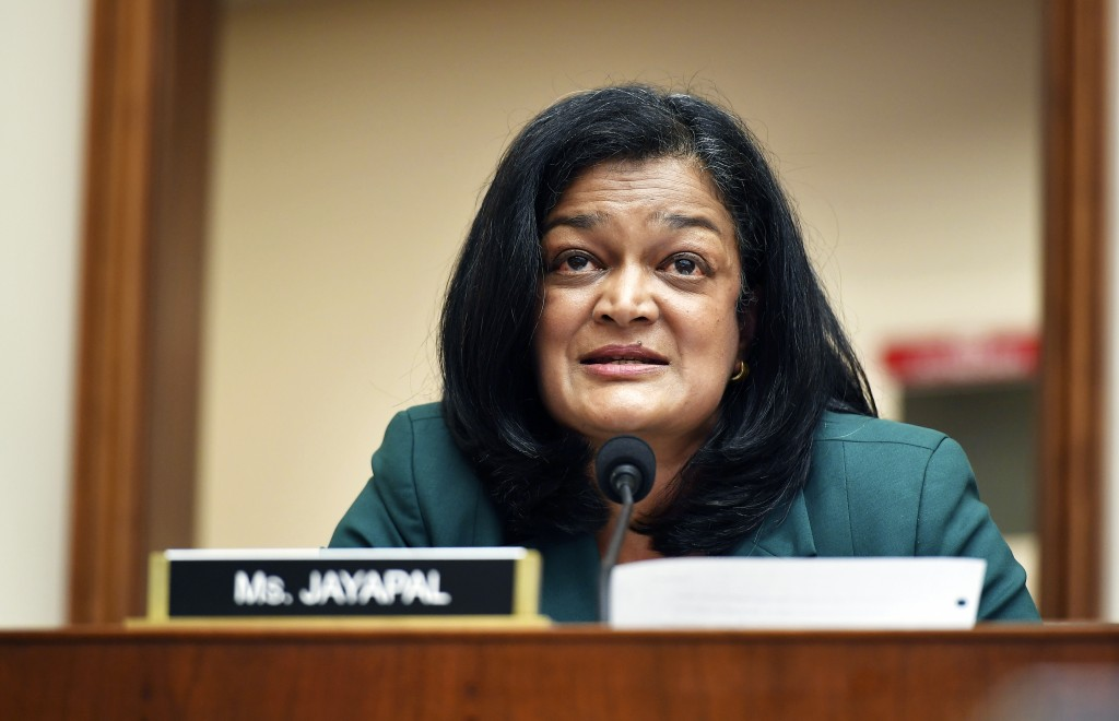 FILE - In this July 29, 2020, file photo Rep. Pramila Jayapal, D-Wash., speaks during a House Judiciary subcommittee on antitrust on Capitol Hill in W...