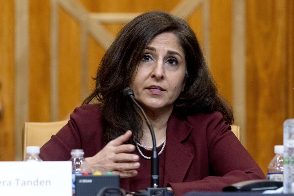 FILE - In this Feb. 10, 2021 file photo, Neera Tanden, President Joe Biden's nominee for Director of the Office of Management and Budget (OMB), testif...