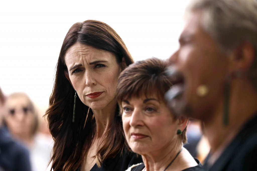 New Zealand's Prime Minister Jacinda Ardern, left, attends the 10th anniversary memorial service of the 2011 Christchurch earthquake in Christchurch, ...