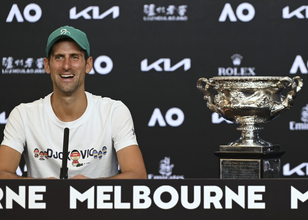 Serbia's Novak Djokovic answers questions, Monday Feb. 22, 2021, during a press conference after defeating Russia's Daniil Medvedev in the men's singl...