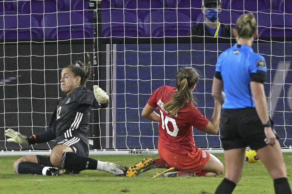 Canada midfielder Sarah Stratagakis (10) scores a goal past Argentina goalkeeper Laurina Oliveros (12) during the second half of a SheBelieves Cup wom...