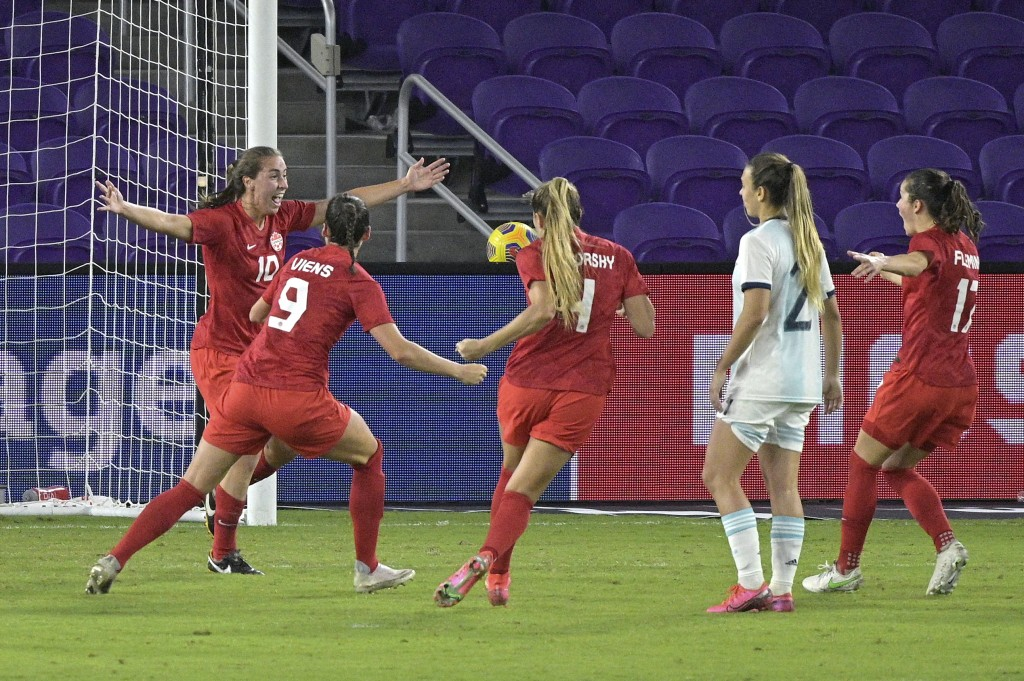 Canada midfielder Sarah Stratagakis (10) celebrates with teammates after scoring a goal during the second half of a SheBelieves Cup women's soccer mat...