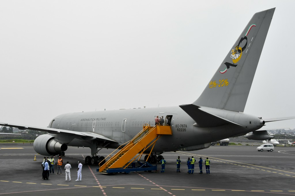 An airplane waits to transport the bodies of Italian ambassador to Congo Luca Attanasio and Carabinieri officer Vittorio Iacovacci to the capital Kins...