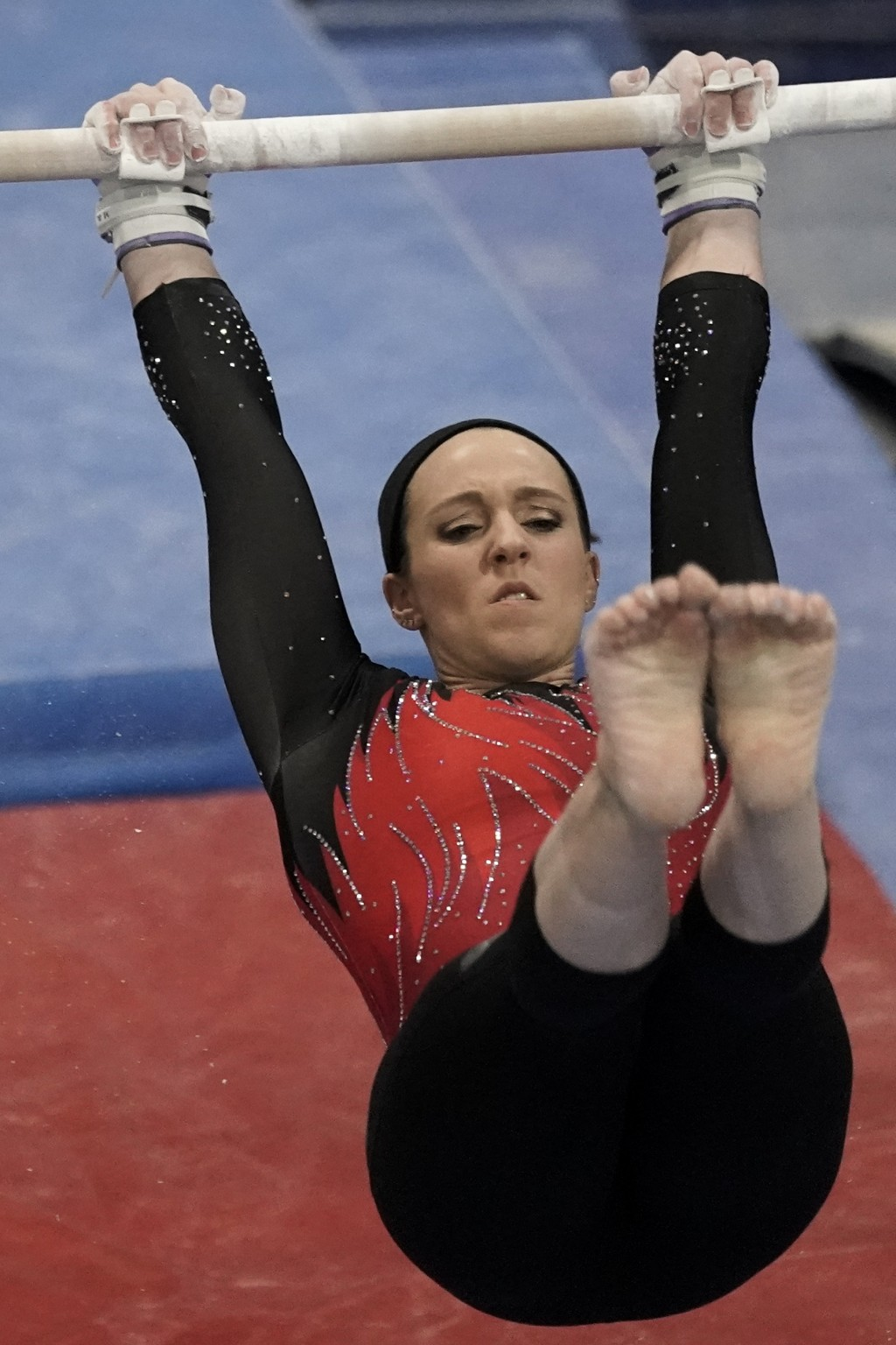 Chellsie Memmel works out Thursday, Feb. 18, 2021, in New Berlin, Wisc. The 32-year-old former world champion, Olympic silver medalist married mother ...