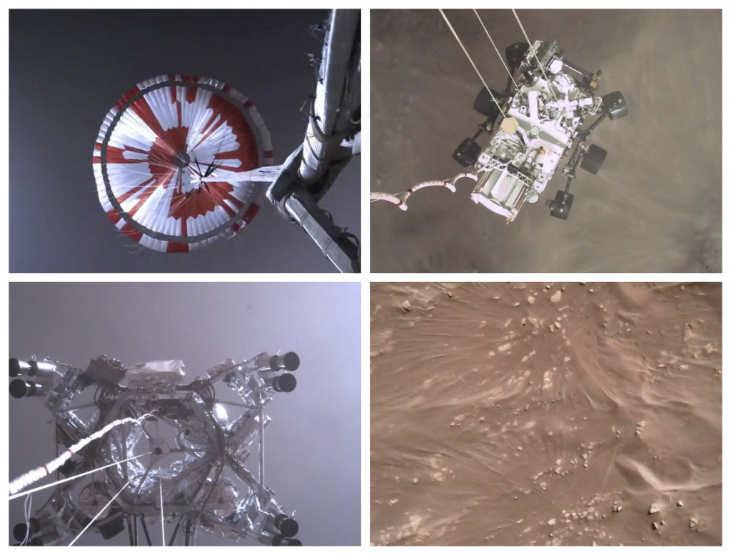 This combination of images from video made available by NASA shows steps in the descent of the Mars Perseverance rover as it approaches the surface of...