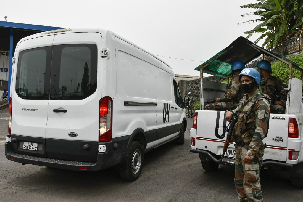 A van containing the body of Italian ambassador to Congo Luca Attanasio arrives at the airport to be transported to the capital Kinshasa, in Goma, Nor...