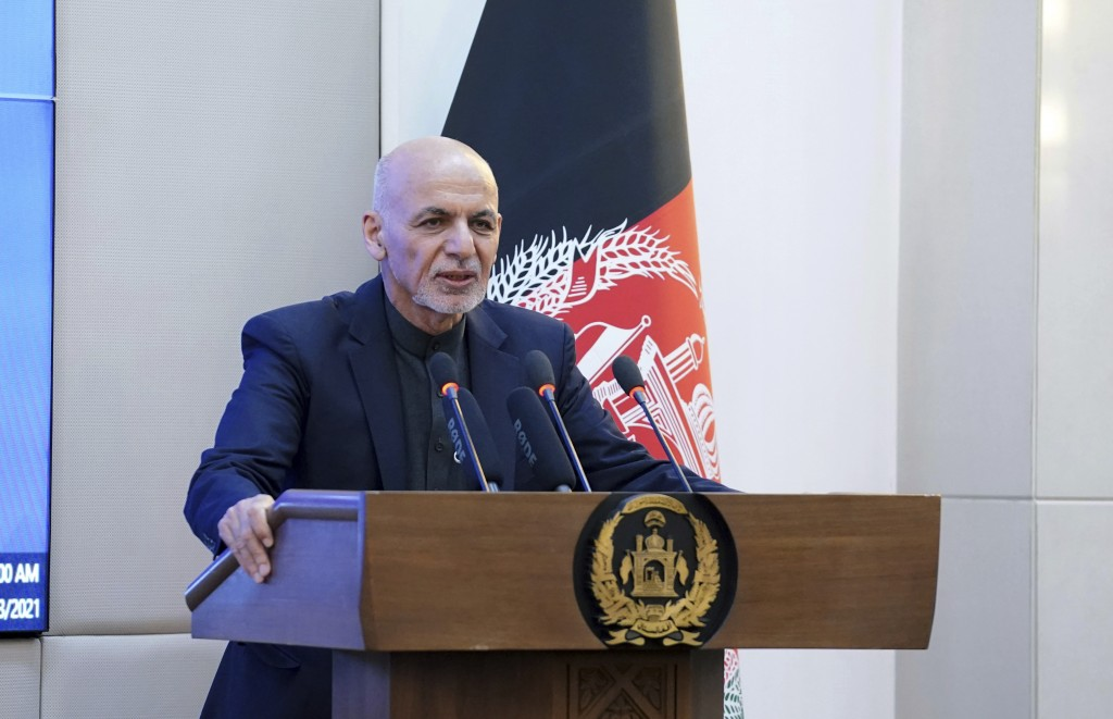 Afghan President Ashraf Ghani speaks during a ceremony of India's AstraZeneca coronavirus vaccination at the Afghan presidential palace in Kabul, Afgh...