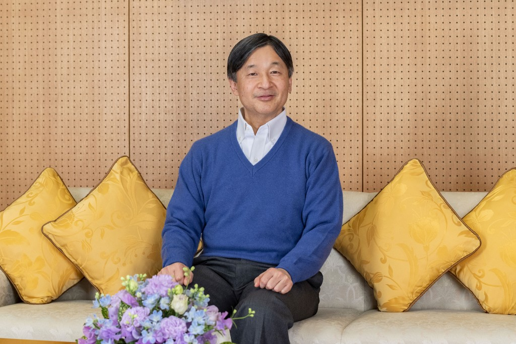 In this photo provided on Feb. 18, 2021, by the Imperial Household Agency of Japan, Japan's Emperor Naruhito poses at Akasaka Palace in Tokyo on Feb. ...