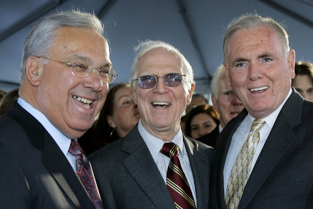 FILE - In this Nov. 1, 2006, file photo, former Boston Mayors Thomas Menino, left, Kevin White, center, and Raymond Flynn pose together prior to the u...
