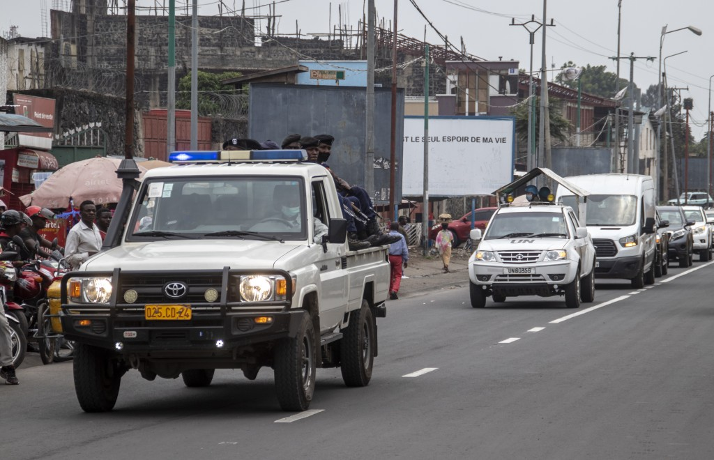 A convoy transports the bodies of Italian ambassador to Congo Luca Attanasio and Carabinieri officer Vittorio Iacovacci to the airport to be taken to ...
