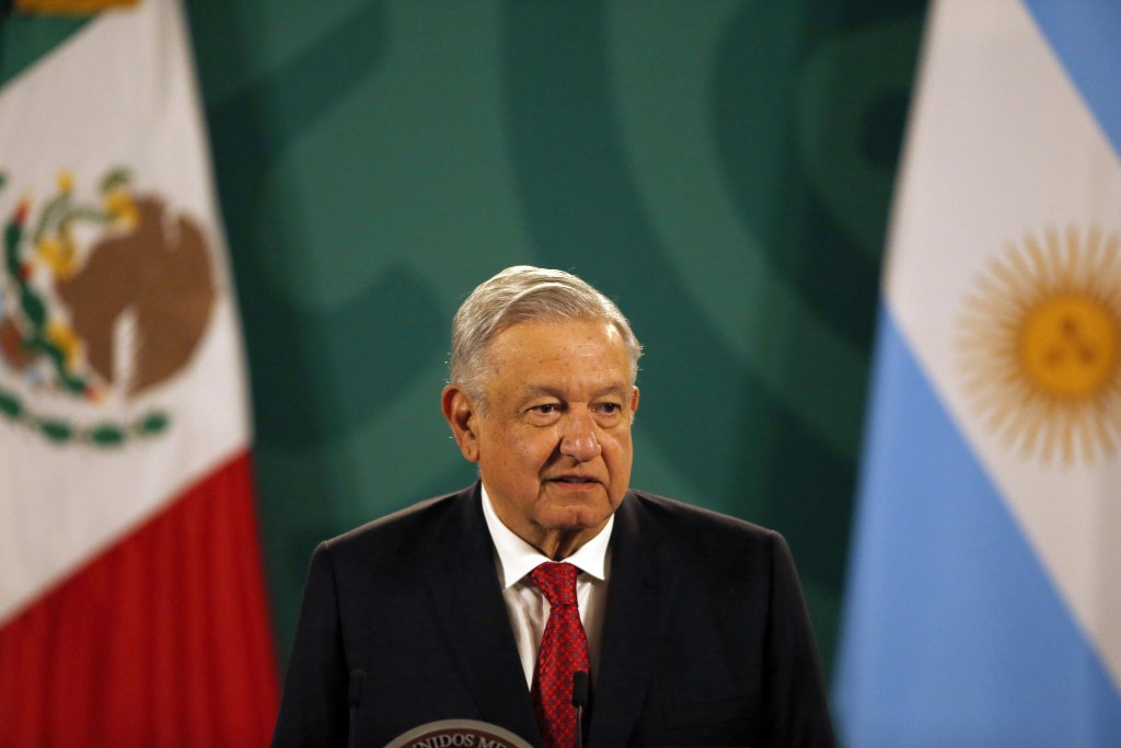 Mexican President Andrés Manuel López Obrador gives his daily, morning press conference at the National Palace in Mexico City, Tuesday, Feb. 23, 2021,...