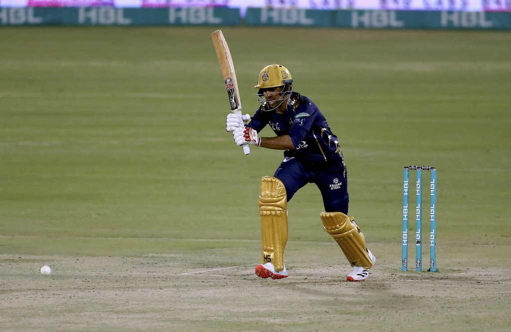 Quetta Gladiators' Sarfraz Ahmed plays a shot during a Pakistan Super League T20 cricket match between Lahore Qalandars and Quetta Gladiators at the N...