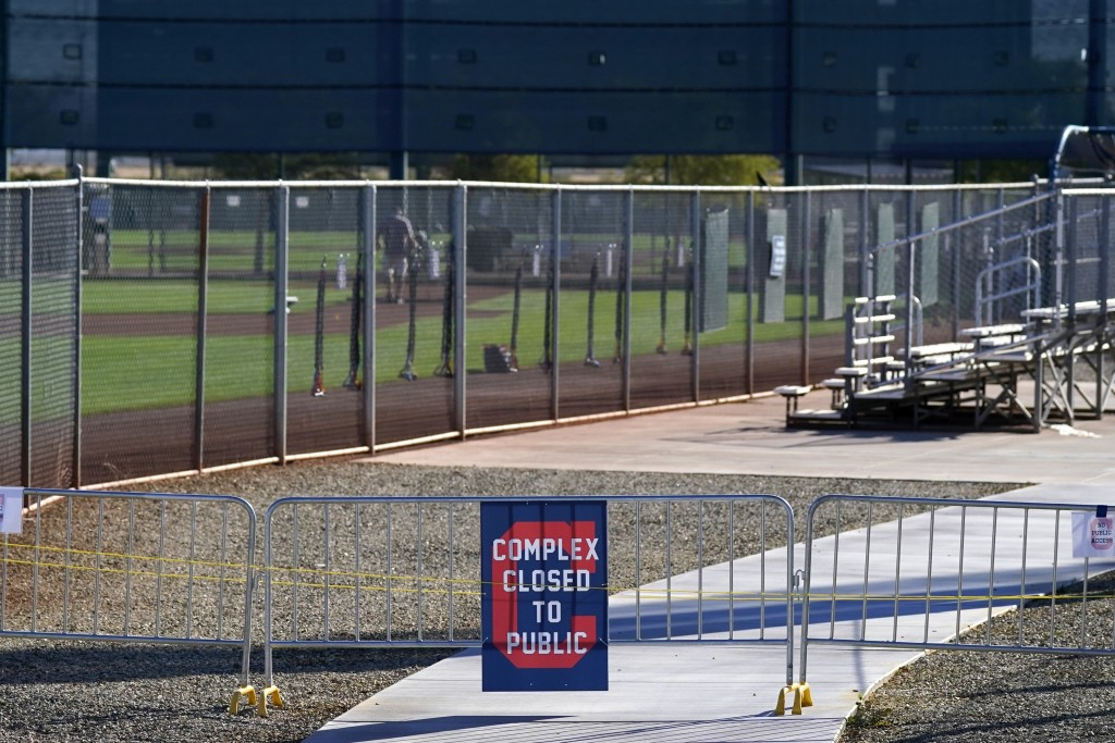 The entrances to the Cleveland Indians spring training facility are closed to the public due to the ongoing COVID-19 outbreak prior to the first day o...