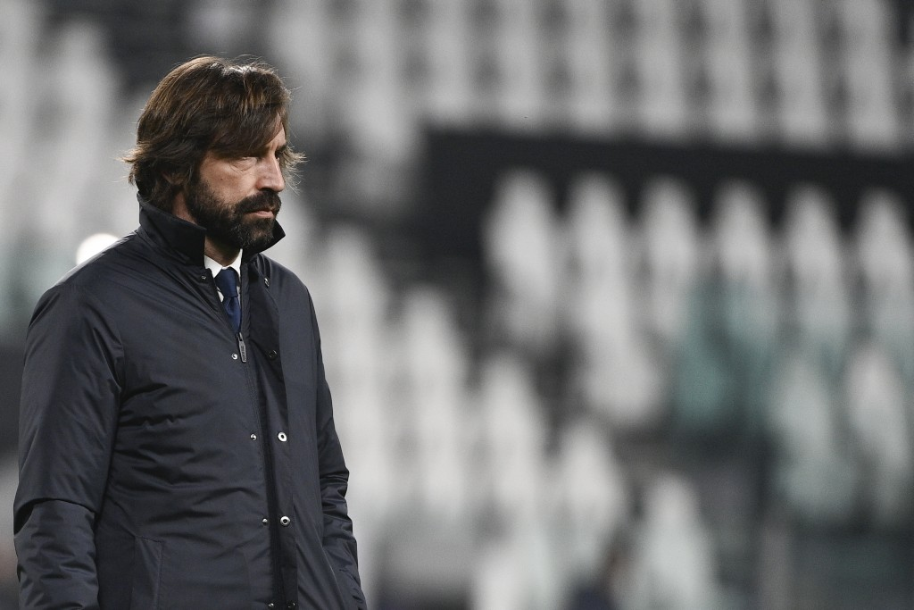 Juventus coach Andrea Pirlo stands on the pitch prior to the Serie A soccer match between Juventus and Crotone, at the Allianz Stadium in Turin, Italy...