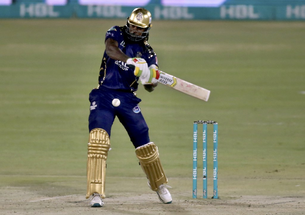 Quetta Gladiators' Chris Gayle plays a shot during a Pakistan Super League T20 cricket match between Lahore Qalandars and Quetta Gladiators at the Nat...