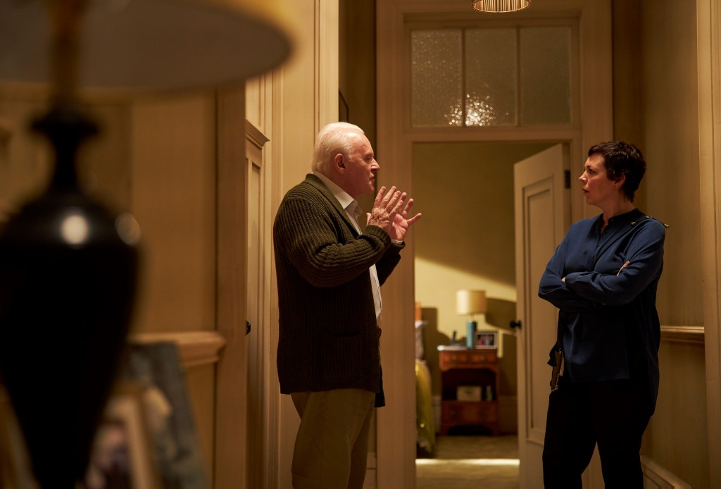 """This image released by Sony Pictures Classics shows Anthony Hopkins, left, and Olivia Colman in a scene from """"The Father."""" (Sean Gleason/Sony Pictures..."""