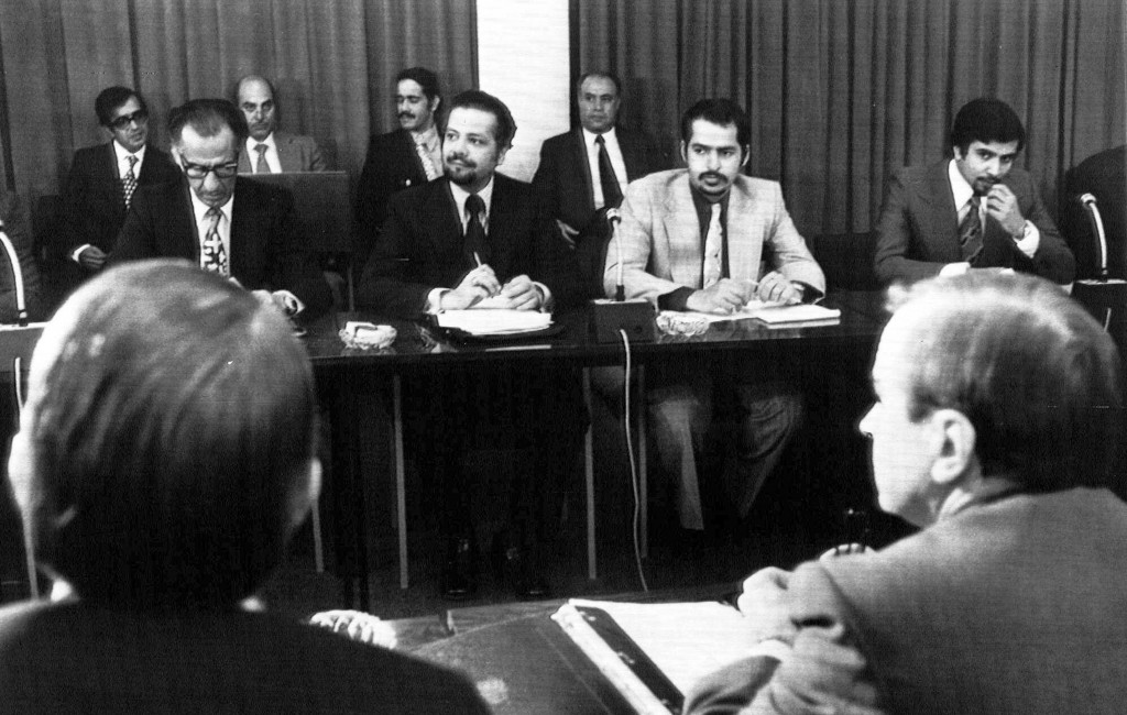 FILE - In this Oct. 8, 1973, file photo, oil ministers of six Persian Gulf countries and representatives of western nations meet in Vienna, Austria, t...