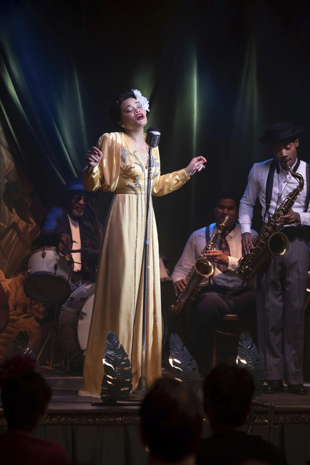 """This image released by Hulu shows Andra Day in """"The United States vs Billie Holiday."""" (Takashi Seida/Hulu via AP)"""