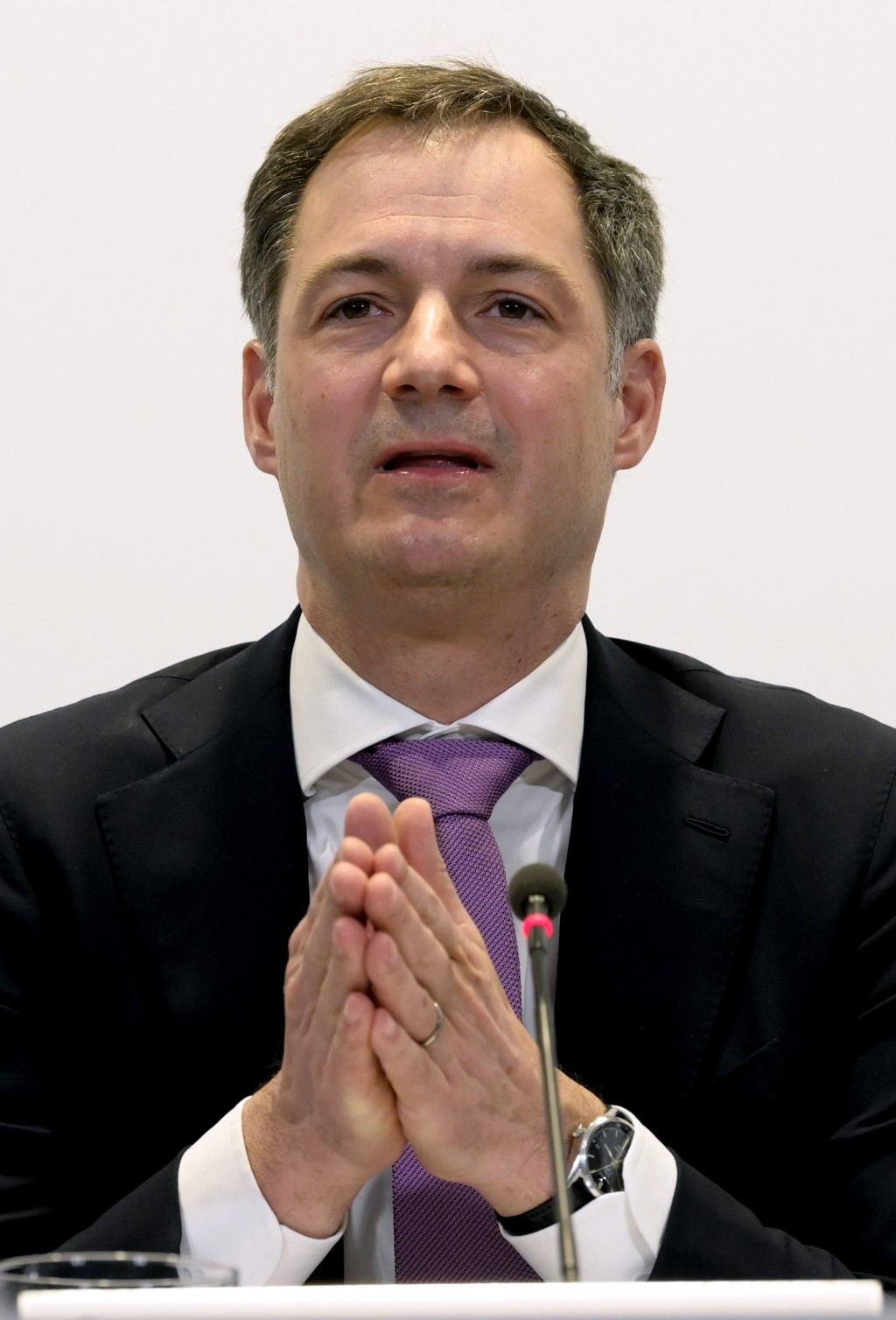 Belgium's Prime Minister Alexander De Croo speaks during a media conference at the prime minister's office in Brussels, Monday, Feb. 22, 2021. The gov...