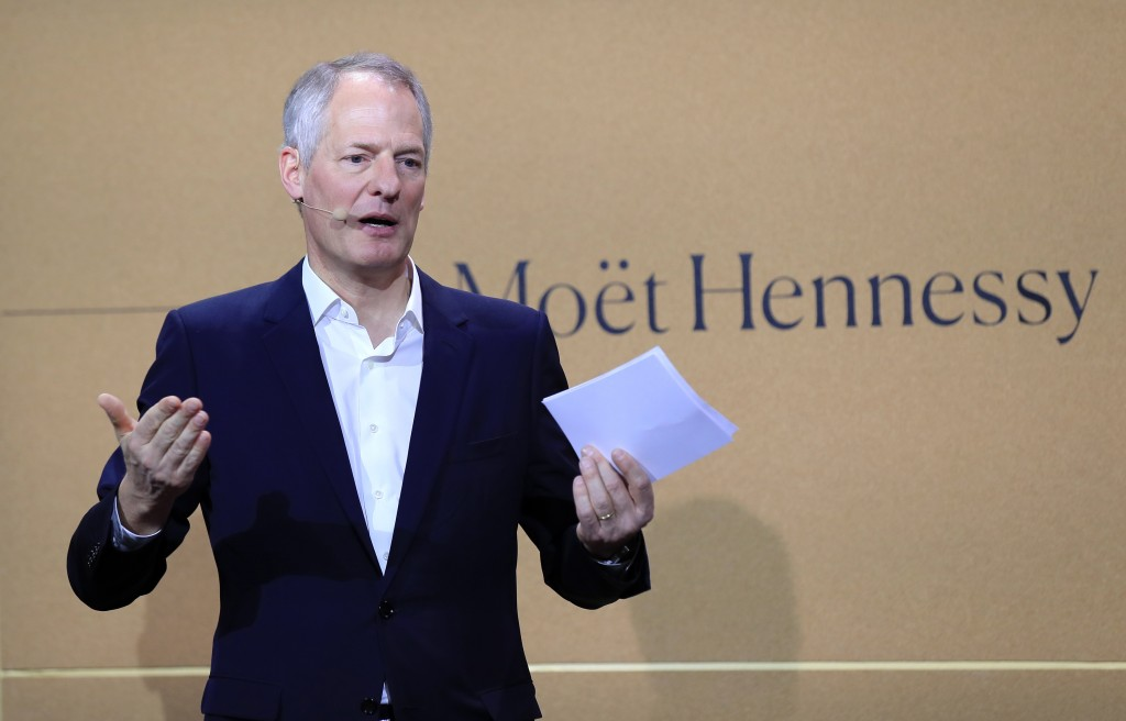 FILE - In this Feb. 10, 2020 file photo, Moet Hennessy President and CEO Philippe Schaus speaks during a news conference at the wine fair in Paris. Mo...
