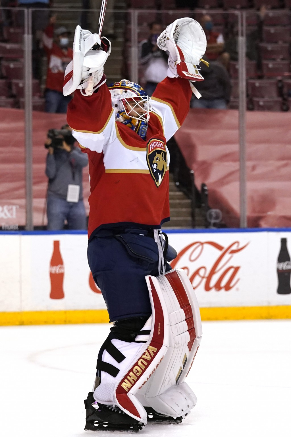 Florida Panthers goaltender Chris Driedger celebrates after an NHL hockey game against the Dallas Stars, Monday, Feb. 22, 2021, in Sunrise, Fla. The P...