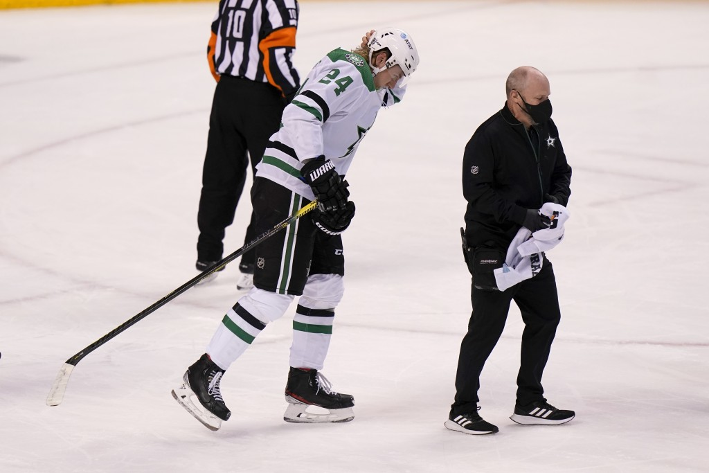 Dallas Stars left wing Roope Hintz (24) walks off after falling to the ice during the first period of an NHL hockey game against the Florida Panthers,...